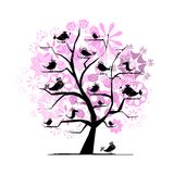 Funny tree with singing birds for your design Stock Image