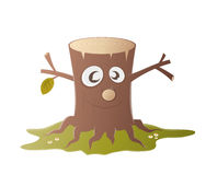 Funny tree stump character Royalty Free Stock Image