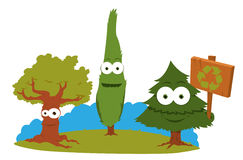Funny Trees Holding A Recycling Sign Royalty Free Stock Photos