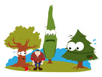 Funny trees and logger Royalty Free Stock Photography