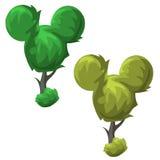 Funny trees round shape, cartoon style Stock Images