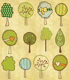 Funny trees seamless pattern Stock Images