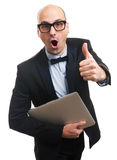 Funny trendy guy gesturing thumbs up Stock Images