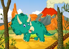 Funny Triceratops cartoon cartoon with forest landscape background Royalty Free Stock Photo