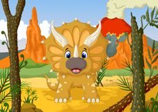 Funny Triceratops cartoon with forest landscape background Stock Photos