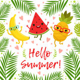 Funny tropical fruits on the summer party. Vector background. Summer fruit pineapple and sweet banana, illustration of template exotic fruits Royalty Free Stock Photography
