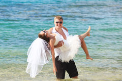 Funny tropical wedding Stock Photos