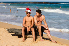Funny Tropical Xmas Spirit on the Beach Stock Images