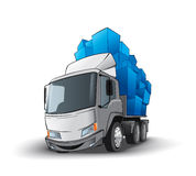 Funny truck whith gifts. On the white background Stock Photo