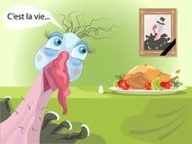 Funny turkey. Postcard with funny turkey character Stock Photos
