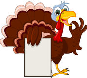 Funny turkey cartoon posing with blank sign Stock Images