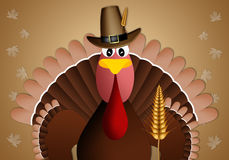 Funny turkey with cob for Thanksgiving Royalty Free Stock Images