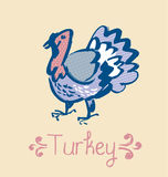Funny turkey sketch. french cuisine stylish poultry. Vector illustration Stock Image