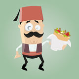 Funny turkish cartoon man is serving doner kebab royalty free illustration