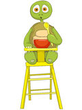 Funny Turtle. Baby Eating. Royalty Free Stock Photo