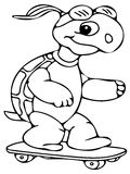 Funny turtle coloring pages Stock Images