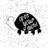 Funny turtle. Cool inscription text open your mind Stock Photography