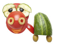 Funny turtle made of tomato and cucumber Stock Image