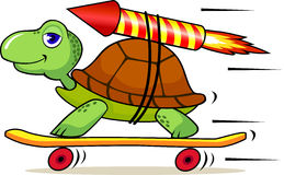 Funny turtle with rocket Royalty Free Stock Image