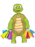 Funny Turtle. Shopping. Stock Photo