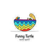 Funny turtle, sketch for your design Royalty Free Stock Photos