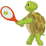Funny Turtle. Tennis Player. Stock Image