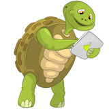 Funny Turtle. Touch Screen. Royalty Free Stock Photo
