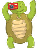 Funny Turtle. Tourist - Photographer. Cartoon Character Funny Turtle Isolated on White Background. Vector EPS 10 vector illustration