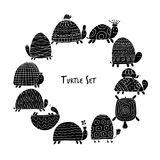 Funny turtles set, sketch for your design. Vector illustration Royalty Free Stock Image