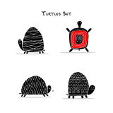 Funny turtles set, sketch for your design. Vector illustration Royalty Free Stock Photo