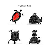 Funny turtles set, sketch for your design. Vector illustration Stock Image
