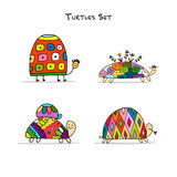 Funny turtles set, sketch for your design. Vector illustration Stock Photography