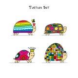 Funny turtles set, sketch for your design. Vector illustration Stock Images