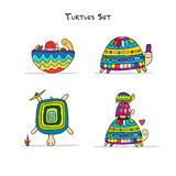 Funny turtles set, sketch for your design. Vector illustration Stock Photo