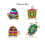Funny turtles set, sketch for your design. Vector illustration Royalty Free Stock Photos