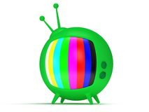 Funny TV with antenna. 3d render. Isolated. Stock Photos