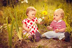 Funny little twins royalty free stock photo