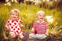 Funny little twins royalty free stock photos