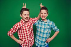 Funny twins Stock Images