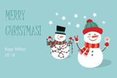 Funny two cartoon snowman,  illustration with a snowman in top hat and hat.  Royalty Free Stock Images
