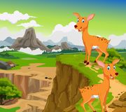 Funny two deer cartoon with mountain landscape background Stock Photography