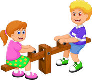 Funny two kids cartoon playing see saw Stock Image