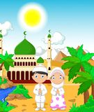 Funny two muslims in front of mosque landscape background vector illustration