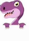 Funny tyrannosaurus cartoon with blank sign Stock Photos