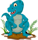 Funny tyrannosaurus cartoon sitting for you design Royalty Free Stock Photo