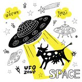 Funny ufo abduction cow space stars spaceship for cover, textile, t shirt.Hand drawn vector illustration. Funny ufo abduction cow space stars spaceship for cover stock illustration