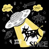 Funny ufo abduction cow space stars spaceship for cover, textile, t shirt. Hand drawn vector illustration. Funny ufo abduction cow space stars spaceship for vector illustration