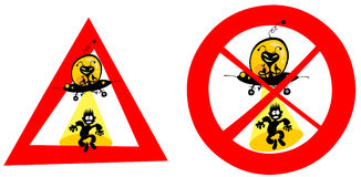 Funny UFO abduction signs. Two funny comical UFO abduction signs Vector Illustration