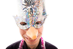 Funny ugly man with party mask smiling Royalty Free Stock Photos