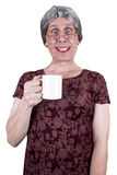 Funny Ugly Mature Senior Woman Drink Coffee Stock Photography